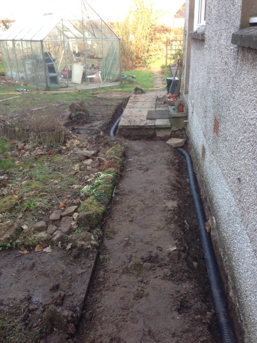 Trench with drain pipe